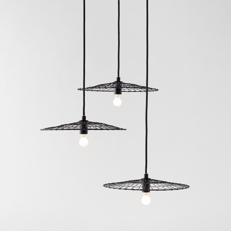 Nendo bases wire Basket Lamp on Japanese kitchenware
