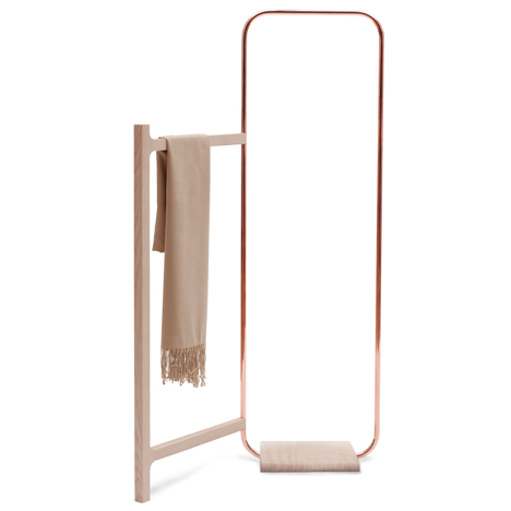 Meike Langer designs copper clothes stand to nestle into awkward spaces