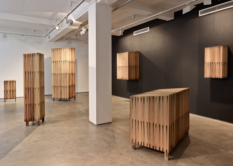 "Peter Marigold's cabinets ""bleed"" as steel reacts with tannin"