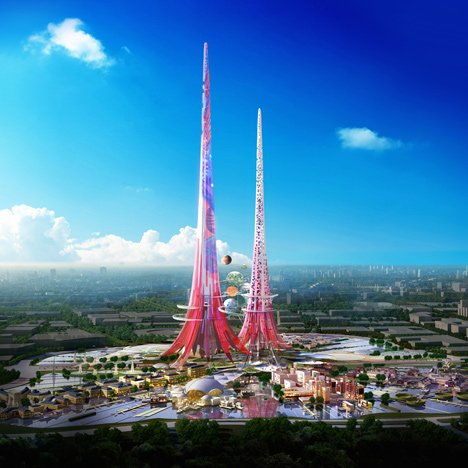 "Chetwoods creates ""blatantly iconic"" kilometre-tall tower to act as environmental filter for Wuhan"