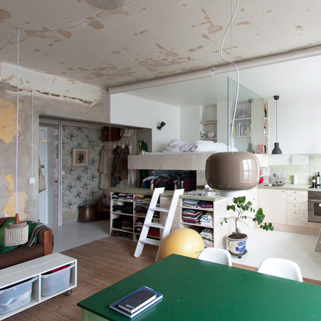 Karin Matz leaves unfinished plaster walls<br /> in renovated Stockholm apartment