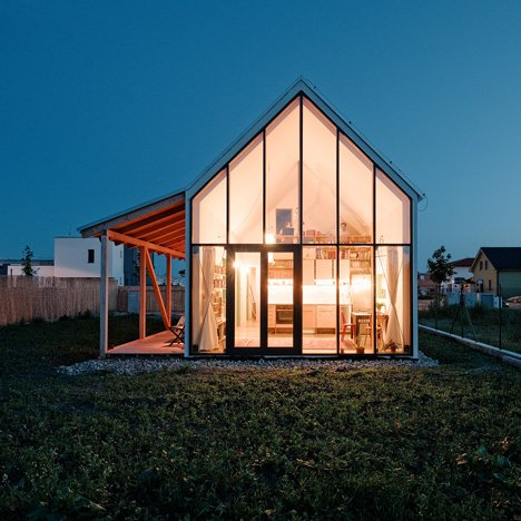 Slovakian house by JRKVC features a glazed gable wall