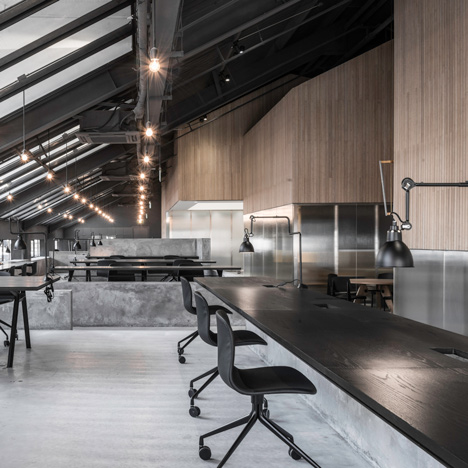 Flamingo Shanghai offices by Neri&Hu feature<br /> raw concrete and angular meeting rooms