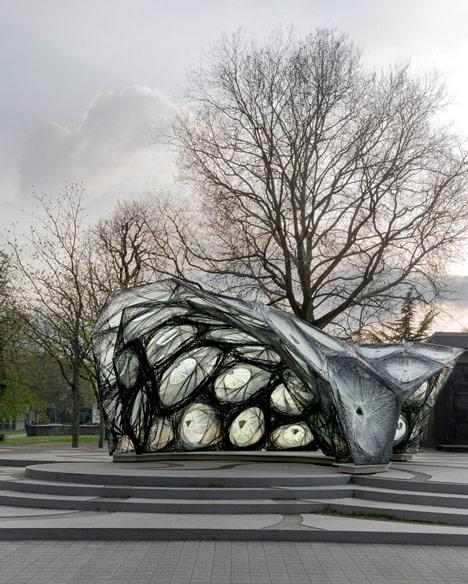 University of Stuttgart unveils woven pavilion based on beetle shells