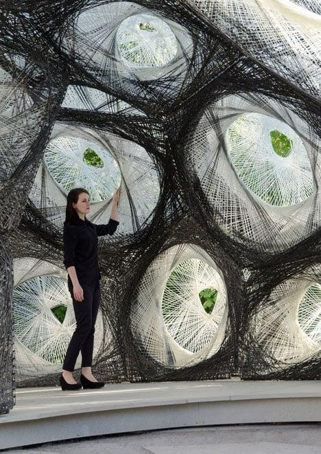Das Pavillon Design wurde von der Luftblase der Wasserspinne inspiriert