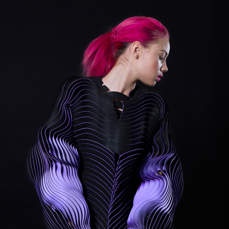 "Undulating sleeves create ""optical effect"" in Katherine Roberts-Wood's fashion collection"