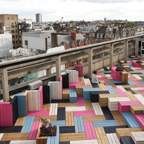 Studio Weave Adds Colourful Herringbone Decking To London College Of Fashion Roof Garden