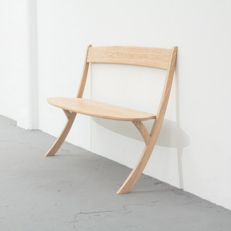 Izabela Bołoz designs two-legged bench to lean against walls
