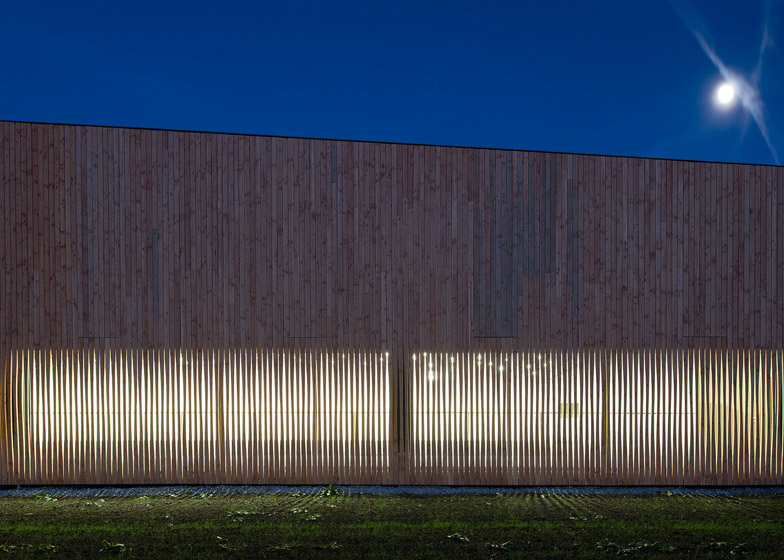 Timber walls feature narrow vertical slices at Virdis Architecture's Lussy Sports Hall