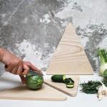 Runa Klock's triangular chopping boards evoke a mountain landscape