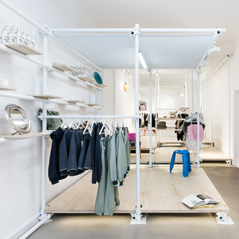 Scaffolding forms temporary clothing rails at Berlin pop-up shop by Kontent