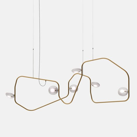 Steel chandelier by Rich Brilliant Willing contorts in different directions