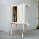 Pop-up Linen wardrobe by Renate Nederpel folds flat for easy transportation