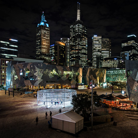 Radiant Lines by Asif Khan creates rings of light in Melbourne's Federation Square