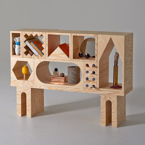 Room shelving system functions like a huge shape-sorter toy
