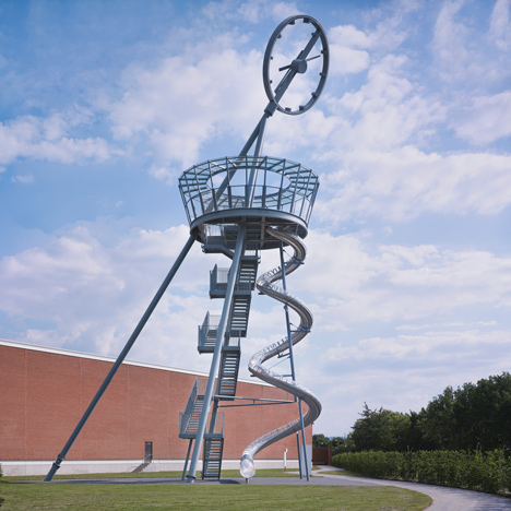 Carsten Höller builds a tower with a slide at the Vitra campus