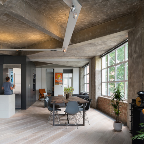 London apartment by Inside Out Architecture features chunky concrete beams and columns