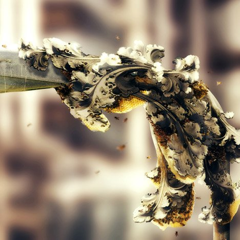 "Bees could 3D-print ""concrete honey"" to form architectural structures"