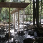 Bridal Veil installation by Louis Sicard creates a curtain of water through the forest