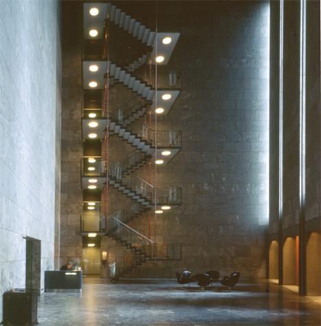 Danmarks Nationalbank building designed by Arne Jacobsen oin 1971