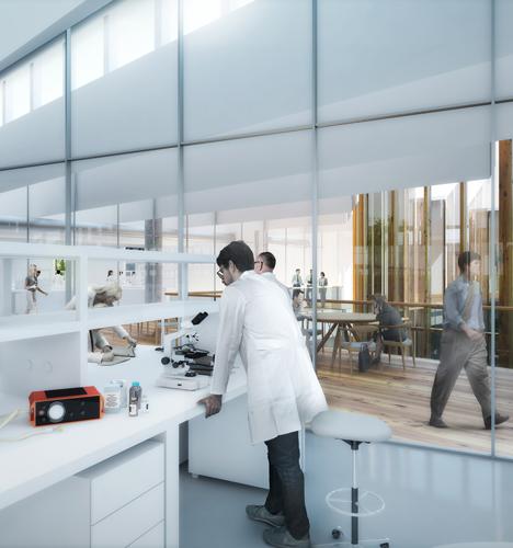 Dezeen Astrazeneca hq cambridge by herzog de meuron Laboratory-second-floor