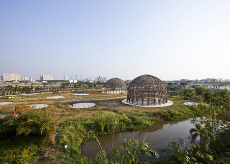 Diamond Island Community Hall in Vietnam by Vo Trong Nghia with bamboo