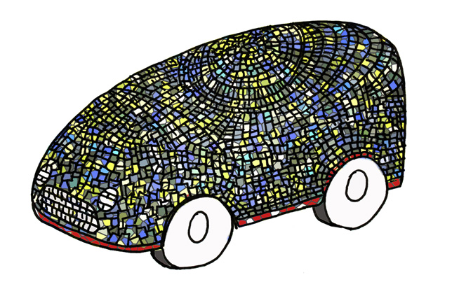 Stained-glass car by Dominic Wilcox