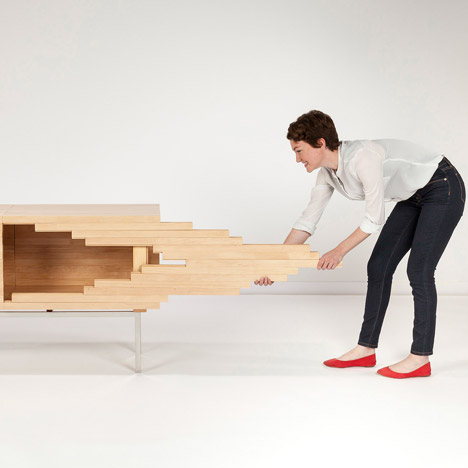 Explosion Cabinet by Sebastian Errazuriz expands using sliding joints
