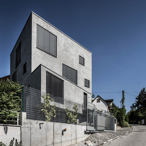Cubed concrete house by Plusminus Architects built outside Bratislava