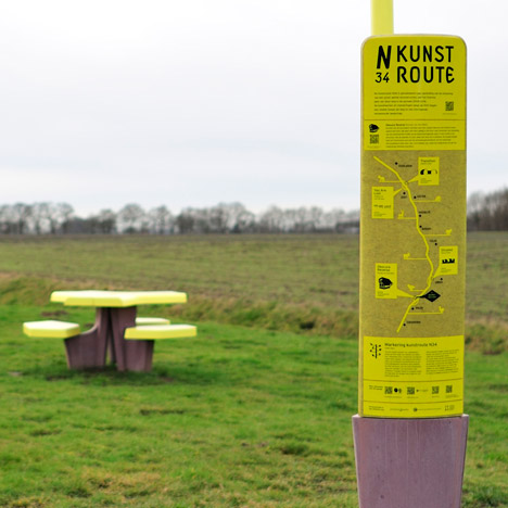 Ineke Hans designs colourful signage and street furniture for roadside art trail