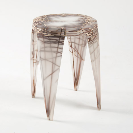 Wiktoria Szawiel fossilises natural fibres in resin furniture collection