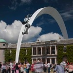 Gerry Judah's arcing sculpture suspends Mercedes cars above Goodwood crowds