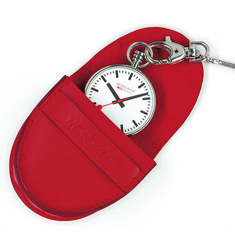 Mondaine-Pocket-Watch,-stainless-steel,-pouch