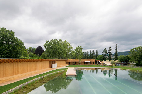 herzog de meuron creates naturally filtered swimming pool in switzerland. Black Bedroom Furniture Sets. Home Design Ideas