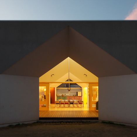 Soichi Yamasaki's Japanese nursery features house-shaped windows and faceted ceilings
