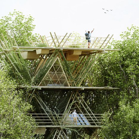 One With The Birds bamboo hotel concept by Penda