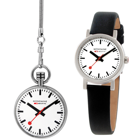 Mondaine pocketwatch and ladies' timepiece arrive at Dezeen Watch Store