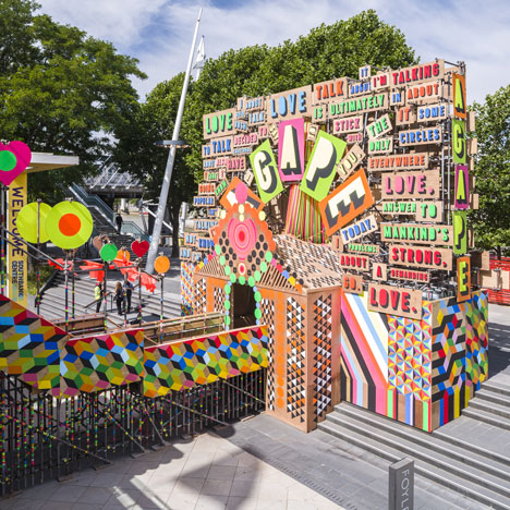 Temple of Agape by Morag Myerscough and Luke Morgan celebrates love with neon signage
