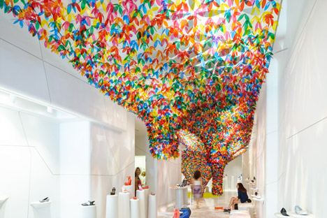 Softlab Installs Colourful Funneled Canopy In Melissa Shoe