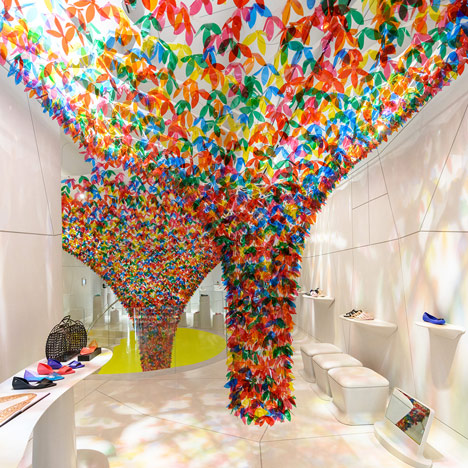 SOFTlab installs colourful funneled canopy in Melissa shoe shop