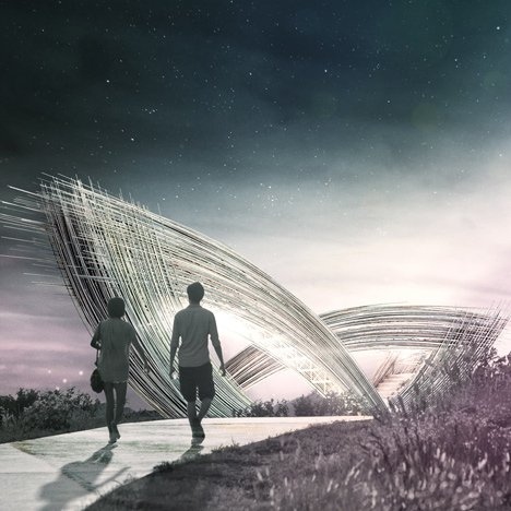 Lengths of bamboo create the giant petals of Penda's Blossom Gate