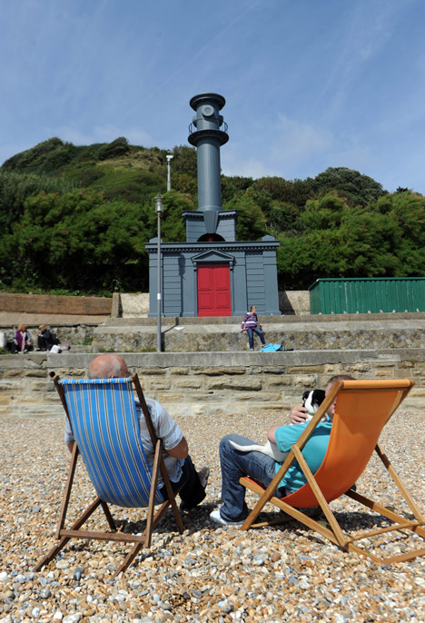 Pablo Bronstein honours Nicholas Hawksmoor with lighthouse/beach hut hybrid in Folkestone