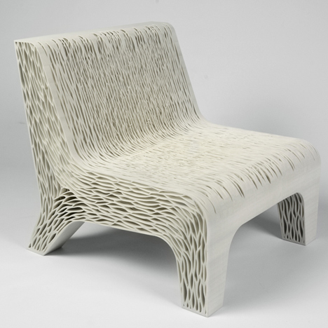 Biomimicry chair by Lilian van Daal replaces traditional upholstery with 3D-printed structure