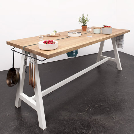 Moritz Putzier designs Cooking Table for collaborative meal preparation