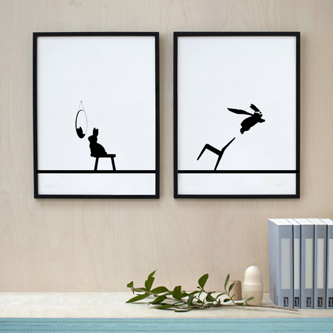 Silver Superhero Rabbit and Mint Reflective Rabbit screen prints by HAM