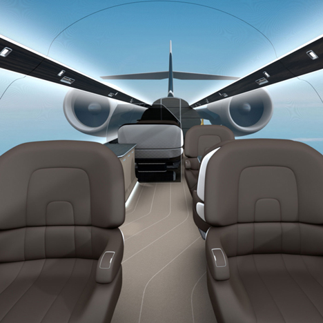 Ixion windowless private jet by Technicon Design offers immersive panoramic views