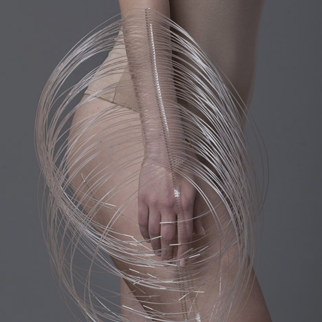 The Living Points Structure jewellery covers limbs in porcupine-like spines