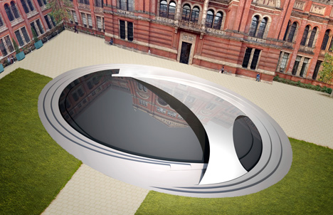 An aerial view render of the Crest installation at the V&A John Madejski Garden