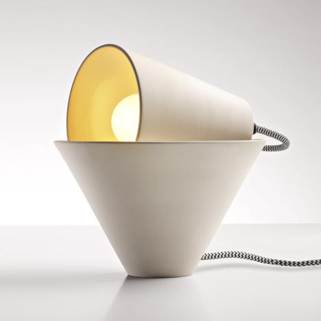 Two ceramic cones form Mia table lamp by Federica Bubani