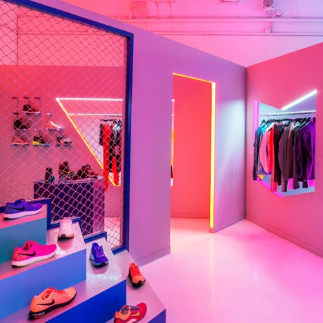 Robert Storey Studio uses lurid colours to illuminate Nike presentation space